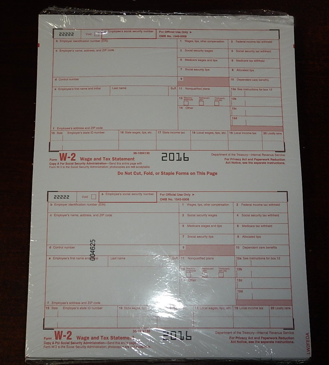 2016 10 EMPLOYEE ADAMS W-2 W2 KIT 6-PART IRS TAX FORMS